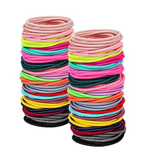 Oyfel Elastische Haargummis Bunt 100 Stück Haarbänder Pferdeschwanz Inhaber Karikatur Bobbles Bands Haar Bänder Spirale für Mädchen Damen Kleinkind Baby Kinder
