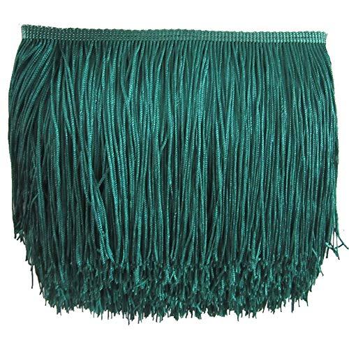 Kolight 10 Meter Polyester Spitzenquaste Fransen Dekoration für Lateinkleid Bühne Kleidung Lampenschirm blaugrün