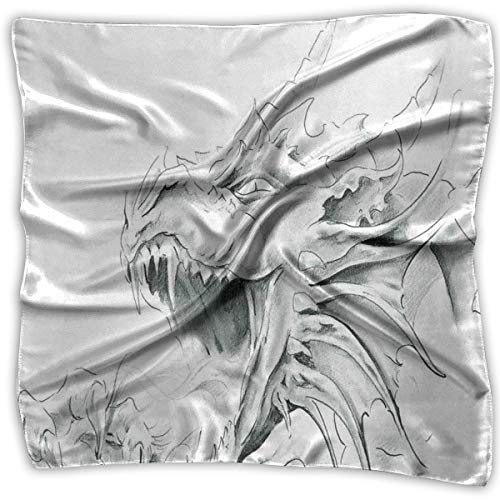 Mixed Designs Silk Square Scarves Bandana Scarf, Sketch Of A Medieval Spiritual Character Mythological Creature Abstract Design,Womens Neck Head Set -