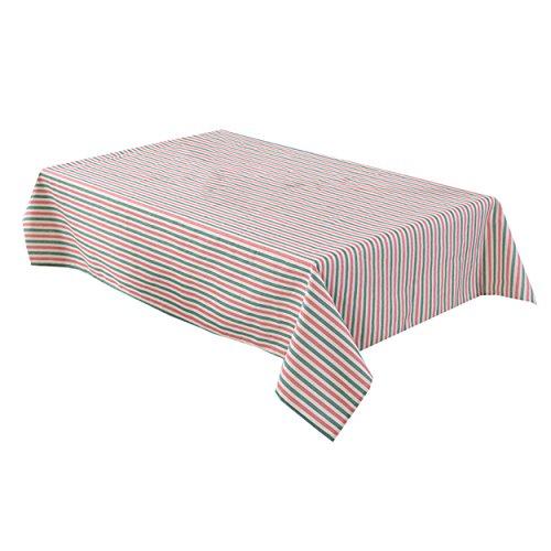 LSHEL Nappe Rectangulaire en Coton et Lin de Table Nappe Rayée Créative 100*140cm Rayure rouge et verte