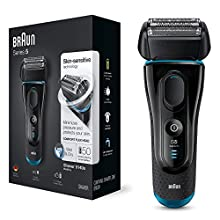 Braun Series 5 5140s Mens Electric Foil Shaver Wet and Dry Pop Up Precision Trimmer Rechargeable and Cordless Razor Black/ Blue, Bathroom 2 pin plug