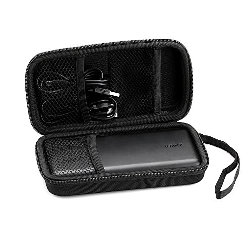 EasyAcc Powerbank Case Hülle EVA Hart Tasche für Anker PowerCore 20100mAh/ EasyAcc 20000mAh 26000mAh/ RAVPower 22000mAh/ EC Technology 22400 mAh Externer Akku, USB Kable, Kopfhörer, SD Karte, Schwarz