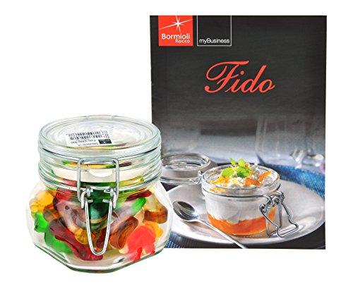 Bormioli Rocco Drahtbügelglas FIDO, 500 ml, Einmachglas mit Bügelverschluss, inkl. Rezeptheft