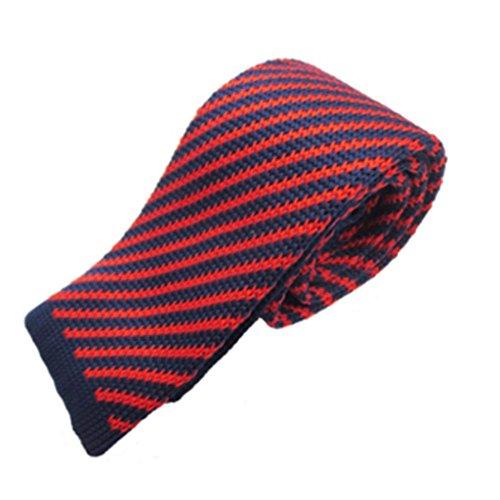 ZSRHH-Neckchiefs Halstücher Herren Flache Schmale Krawatte Rote und Blaue Streifen Casual Joker Wolle gestrickte Krawatte