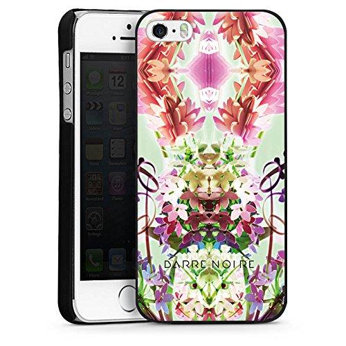 Apple iPhone 5s Housse Étui Protection Coque Fleur Fleur Motif floral CasDur noir