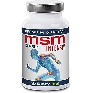 GloryFeel® MSM Kapseln Intensiv 1.600-1600mg Organischer Schwefel Pulver pro Tagesdosis – 120 Vegane Kapsel – Laborgeprüft und ohne unerwünschte Zusätze hergestellt in Deutschland