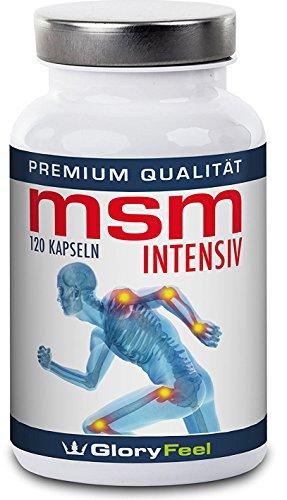MSM Kapseln Intensiv - Der VERGLEICHSSIEGER 2018* - 1.600 mg Organischer Schwefel Pulver pro Tagesdosis | 120 Vegane Kapseln Ohne Magnesiumstearate | Nahrungsergänzung von GloryFeel