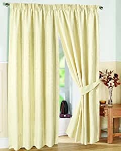 "Pair of Fully Lined CREAM 90"" Width x Drop 54"" JACQUARD SWIRL DESIGN Pencil Pleat Curtains with Matching Tiebacks by VICEROY BEDDING"