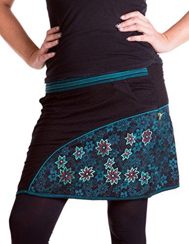 Vishes - Alternative Bekleidung - Bedruckter und bestickter Baumwollrock mit Blumen und