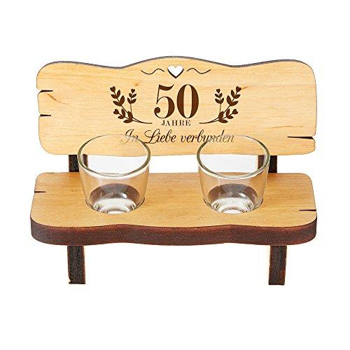 Schnapsbank mit zwei Schnapsgläsern – Geschenk zur Goldenen Hochzeit mit Gravur – Standard - Kleine Hochzeitsbank aus Erlenholz –Hochzeitsgeschenk