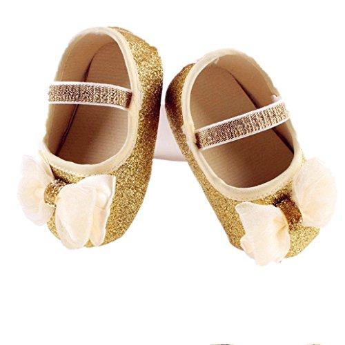 Ouneed® Ete Pailleté Chaussuresde bébé/ Baby Girl Anti-Slip Sandals Toddler semelle souple (13, Or) Or