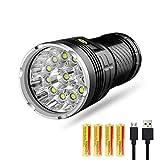 Semoic LED-Taschenlampe 10000 Lumen, 12Xcree Xm-L T6 LED 4 Modi Superhelle Taschenlampe, Wasserdichte Taschenlampe Mit Leistungsanzeige Und 4X18650 Wiederaufladbare Lithiumbatterie