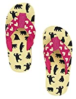 Hatley Girls�?? Lbh Kids Flip Flops Bears on Natural Beach and Pool Shoes, Off White (Off White), M Child UK
