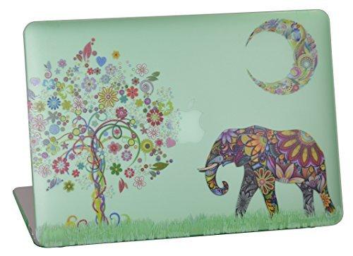 ummierte Hartschale für Modell A1369& A1466, CAS Graphique Moon Elefant Design mit Grün Unten Fall, kommen mit Keyboard Cover ()