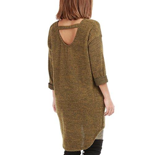 La Modeuse - Tunique femme en maille douce à col rond et manches longues Jaune
