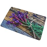 Sanixa PA32070 Vintage Anti-Rutsch Badematte Lavendel Blüten Blume |60 x 40cm |extra dünn | Bad-Teppich Vorleger Dusch-Matte| SCHNELL TROCKNEND