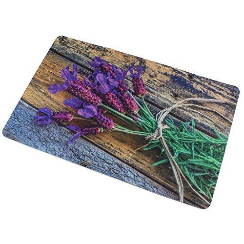 Sanixa PA32070 Vintage Anti-Rutsch Badematte Lavendel Blüten Blume  60 x 40cm  extra dünn   Bad-Teppich Vorleger Dusch-Matte  SCHNELL TROCKNEND