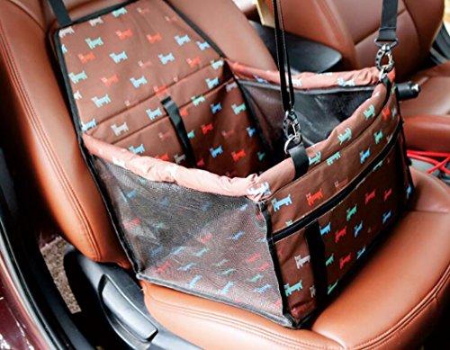 r Autositz, wasserdicht atmungsaktiv Hund Katze Auto Sitzerhöhung Deluxe Portable Car Carrier Reisetasche, 40*32*25, upgraded version - brown cartoon dog (Geheimnis Katze Kostüme)