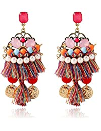 Shining Diva Fashion Colorful Brass Bohemian Stylish Fancy Party Wear Tassel Earrings for Women and Girls(Multi-Colour)(sd6964er)