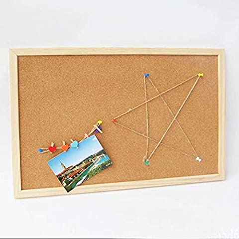 Cork Notice Board Bulletin Board Mini Hanging Tack Message Memo Picture Board for Home Office School Cubicle Presentation, Display and Planning with Pins, Clear Plastic Head, Steel Point