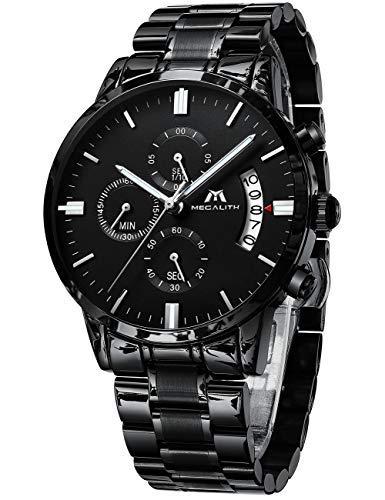 Orologio uomo orologio militare cronografo sportivo impermeabile orologi da polso acciaio nero data design analogico quarzo
