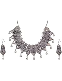 Tandra's Fashion Oxidised Or German Silver Peacock Choker Necklace Set For Women And Girls