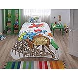LaModaHome 3PCS Luxus Soft Farbigen Schlafzimmer Bettwäsche 100% Baumwolle Lizenzprodukt Single Decke (Pique) dünn Set Sommer/Schlümpfe Papa Schlumpf auf Eisenbahn Ballon Flugzeug Spannbetttuch
