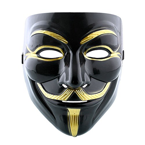 Maske Hohe Qualität-Schwarz und Gold Maske V wie Vendetta Kostüm Guy Fawkes Anonymous Maske 2018 (Geschichte Themen Halloween Kostüme)