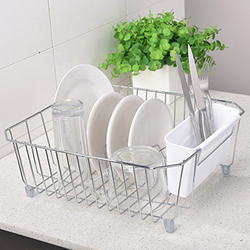 VCCUCINE Commercial Rust Proof Chrome Dish Rack Kitchen In Sink Side Draining Dish Drying Rack, White Cutlery Baskets