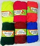 #9: Yashika Best Quality Yarn Multi Colour - Pack of 6