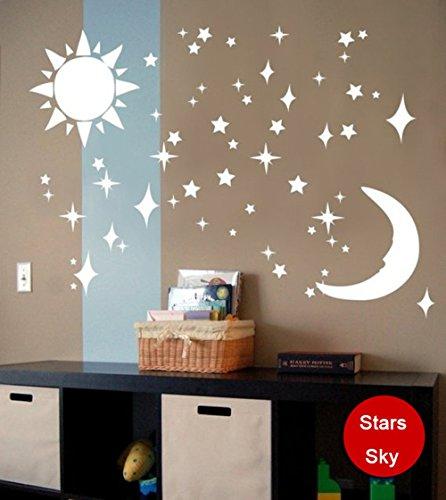 Ufengke Pegatinas Pared 3D Sol Luna Estrellas Espejo