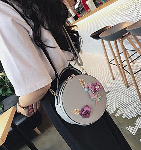 QPALZM 2017 Frau Blume Kleine Runde Handtasche Mode Handtasche Mini Mädchen Schultertasche Messenger Bag Kupplung Grey