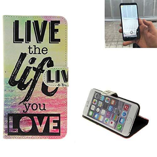 K-S-Trade Für Energizer Powermax P600S Schutz Hülle 360° Wallet Case ''live Life Love'' Schutzhülle Handy Tasche Handyhülle Etui Smartphone Flip Cover Standfunktion (1x)