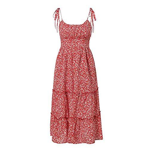 happy&live Lace Up Floral Print Ruffles Summer Dress Women Mid Beach Bohemian Dresses Casual Floral Print Dress Vestidos Red M -