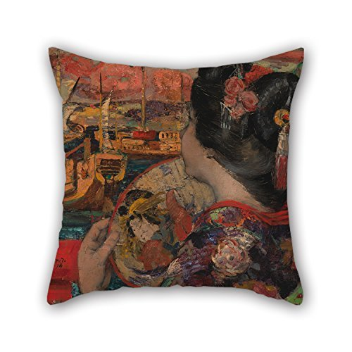 Slimmingpiggy Oil Painting Edward Atkinson Hornel - The Balcony, Yokohama Throw Pillow Case 20 X 20 Inches / 50 By 50 Cm For Wife,divan,kids Girls,christmas,office,family With Each Side