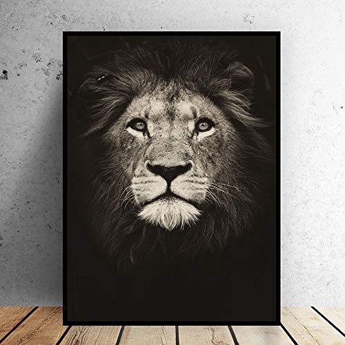 Animal negro pintura león pared arte carteles impresión