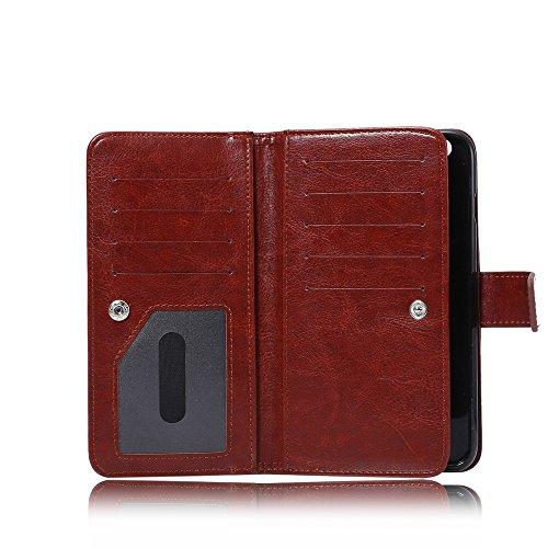 Levanpro Étui portefeuille en cuir + 2 en 1 Pochette Amovible Photo Frame PU Crazy Horse Housse en cuir pour iPhone 6/6s Plus A