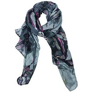 niceeshop(TM) Fashion Begonia Flower Ink Style Soft & Warm Long Chiffon Shawls Scarves Wrap For Women Lady-Gray
