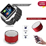Piqancy DZ09 Smart Watch Bluetooth V3.0 Support SIM Card, SD Card With Camera, Free Size (Silver) & Mini Wireless Bluetooth Stereo Speakers Metal Body | FM Radio | USB/Pen Drive | SD/TF Card Support |Mp3/Mp4 For Tablet P C, Mobile (Assorted, Only 1)