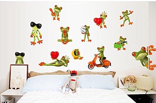 Bellecita Cartoon lustige große Augen Frosch Hintergrund Dekoration Wand-Aufkleber