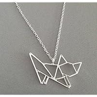 Selia minimalistische Origami Kitty Halskette Cat Katze Kette Silber Schmuck Damen Modeschmuck handgemacht Geschenk