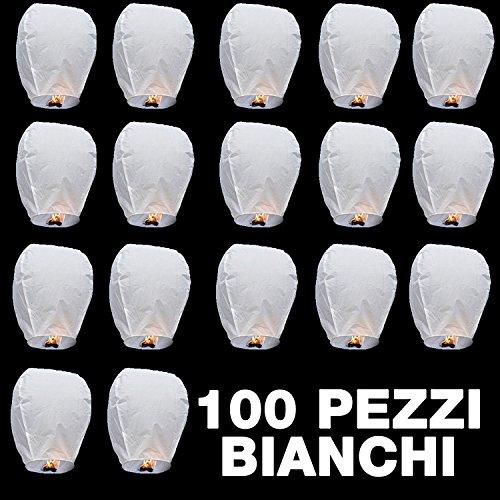 100 PEZZI SKY LANTERN Lanterna cinese volante bianca MONGOLFIERA per MATRIMONIO FESTE PARTY