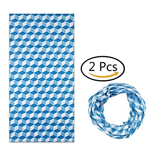 Wrily 2 pezzi fazzoletti multifunzionali maschera da moto passamontagna fascia elastica per bicicletta alpinismo moto sci blu, 2, 25x48cm