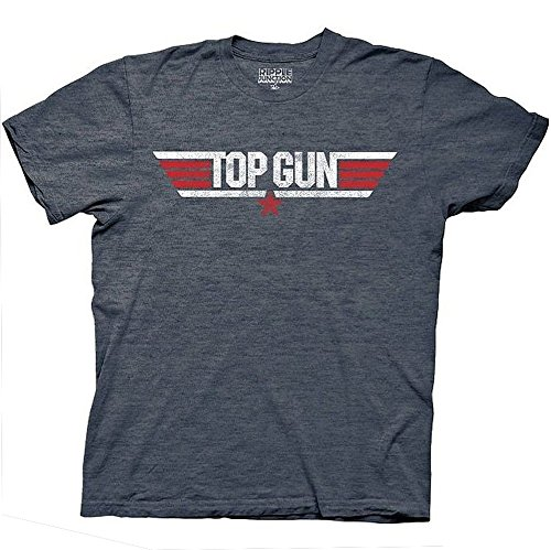 Top Gun Logo And Maverick Name Erwachsene Heather marineblau T-Shirt (Medium) (Gun-erwachsenen T-shirt)