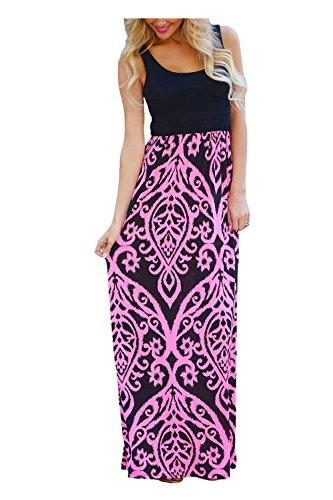 Issza Damen Sommerkleid Lang Kleid Maxikleid Drucken Ärmellos Strandkleid Rundhals High Waist Cocktailkleid Abendkleid Partykleid Rose Rot XL