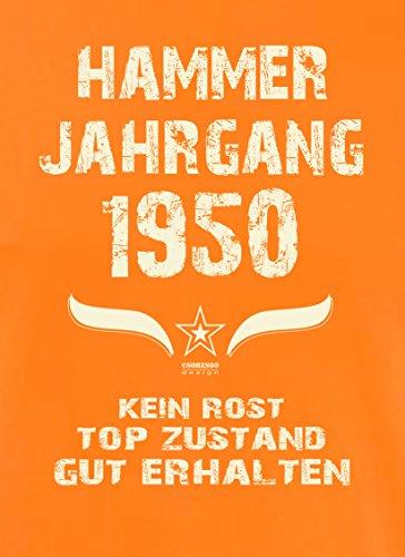 Geschenk Set : Geschenkidee 67. Geburtstag ::: Hammer Jahrgang 1950 ::: Herren T-Shirt & Urkunde Geburtstagskind des Jahres für Ihren Papa Vater Opa Großvater ::: Farbe: schwarz Orange