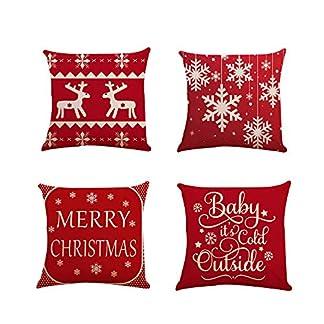 Fundas Cojines de Navidad 4 Pieza, Patrón de Copo de Nieve Ciervo Merry Christmas Funda de Cojines 45×45 Navidad Decoracion para Hogar Casa Sofa Jardin Cama