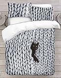 Adam Home 3D Digital Printing Bett Leinen Bettwäsche-Set Bettbezug + 1x Kissenbezug - Cat In Chunky Yarn Knitted Blanket Visual (Alle Größen)