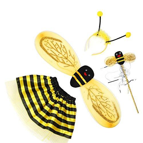 Driverder Cute Bees Wings Requisiten Kostüme vierteilige Kostüme (Gelb) (Baby Bee Kostüme)