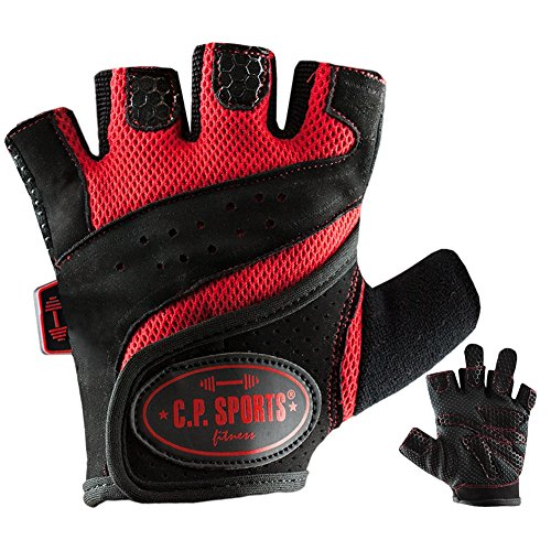 C.P. Sports Lady-Gym - Fitnesshandschuh M rot, Damen Trainings Handschuhe für Frauen